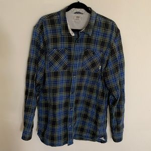 Vans Off the Wall Blue Green Flannel Shirt XL